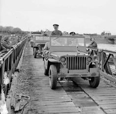 Winston Churchill crosses the Rhine in a jeep with Lt-Gen Miles Dempsey, GOC 2nd Army, 26 March 1945. MAR 26 1945 Forward Platoon makes contact as they enter Germany -