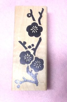 Cherry Blossoms rubber stamp Asian flowers floral designs Hot Potatoes clay fabric paper stamping wood mounted art journaling memory books by NoodlesNotions on Etsy