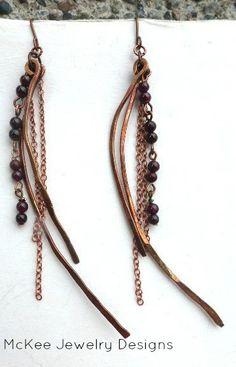 spindle. Long copper and garnet stone earrings, hand made jewelry, stone, metal work. Jewellery. Lightweight, long earrings.  McKee Jewelry designs andria mckee McKee Jewelry Designs   hand made jewelry, jewellery