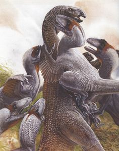"""Deinonychus antirrhopus from the book """"Feathered Dinosaurs: the Origin of Birds"""" by John Long (paleontologist) and Peter Schouten (illustrator)."""