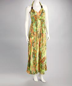 Look what I found on #zulily! Shoreline Green & Orange Halter Maxi Dress - Women by Shoreline #zulilyfinds
