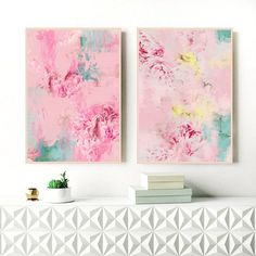 Title: Peony Abstract 17 & 18 A unique and beautiful set of two original artworks inspired by beautiful Peonies. This set of abstract flower prints will create a beautiful calmness in your space. Perfect for your relaxing bedroom, living room or nursery. Materials: ***********
