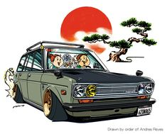 """CRAZY CAR ART """"DATSUN 510 WAGON"""" Drawn by order of Andres Reyes Thank you so much! original cartoon """"mame mame rock"""" / © ozizo + Official web shop """"STAY CRAZY (in Society6)"""" https://society6.com/mame_ozizo + Official web shop """"ozizo(in..."""