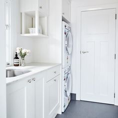 """Provincial Kitchens Home on Instagram: """"This sweet little galley area leading up to a small powder room was turned into a very pretty and functional light filled laundry space. We…"""" Laundry Area, Laundry Room, Mudroom, Powder Room, Kitchens, Floor Plans, Cottage, Space, Amelia"""