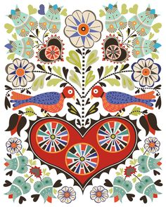 CbyC Original Illustration - Hearts & Birds  Limited Edition Print  a colorful take on the classic form of Folk Art called Fraktur