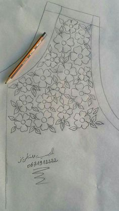Border Embroidery Designs, Kurti Embroidery Design, Hand Work Embroidery, Embroidery Flowers Pattern, Hand Embroidery Stitches, Embroidery Techniques, Ribbon Embroidery, Beaded Embroidery, Sewing Patterns