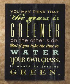 Another great find on #zulily! 'Grass is Greener' Wall Art #zulilyfinds