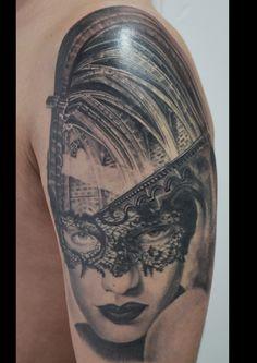 portrait tattoo lace tattoo