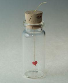 Tiny origami heart in a bottle. #Etsy heart