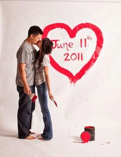 paint brush save the date idea - could also look cute on a paper roll backdrop! Joseph Kang Photography