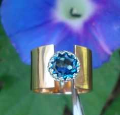 Ring   London Blue Topaz in 1/2 inch wide Eco by ApacheMoon