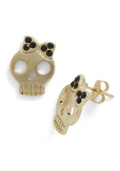 Pretty Macabre Earrings - Gold, Black, Rhinestones, Solid, Quirky, Top Rated