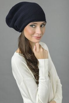 b4e592cc847 Pure Cashmere Ribbed Knitted Slouchy Beanie Hat in Navy Blue Italy in Cashmere  Cashmere Yarn