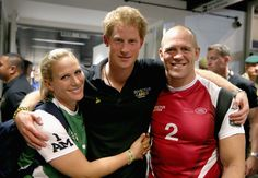 LONDON, ENGLAND - SEPTEMBER 12:  Prince Harry, Zara Phillips and Mike Tindall pose for a photograph after competing in an Exhibition wheelchair rugby match at the Copper Box ahead of tonight's exhibition match as part of the Invictus Games at Queen Elizabeth park on September 12, 2014 in London, England. The International sports event for 'wounded warriors', presented by Jaguar Land Rover, is just days away with limited last-minute tickets available at www.invictusgames.org  (Photo by Chris…