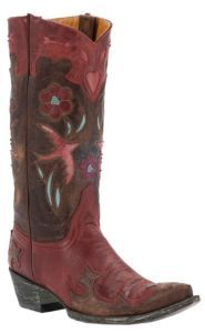 Old Gringo Ladies Golondita Red/Brown w/ Birds & Flowers Pointed Toe Western Boots $519.99