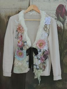 Winter seasons cardi-bohemian romantic , altered couture, embroidered and beaded details,old laces