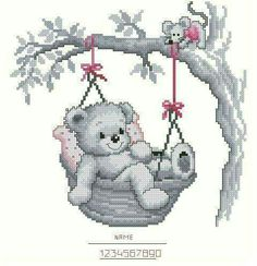 Teddy in basket 1 Baby Cross Stitch Patterns, Cross Stitch For Kids, Cute Cross Stitch, Cross Stitch Animals, Cross Stitch Charts, Cross Stitching, Cross Stitch Embroidery, Hand Embroidery, Cross Stitch Pictures