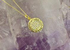 Simple Pave Circle Layering Necklace, with Cubic Zirconia pave, in 925 Silver, Gold Layering Necklace, Hammered Texture, Minimalist Jewelry