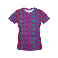 Love Hearts All Over Print T-Shirt for Women (USA Size) (Model T40) Love Heart, Size Model, Hearts, T Shirts For Women, Usa, Tops, Heart Of Love, U.s. States