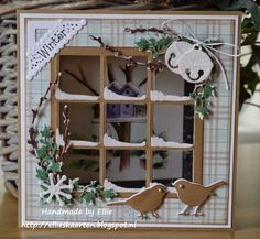 Billedresultat for Marianne design windowLove the snow on the window panes Christmas Card Crafts, Christmas Cards To Make, Christmas Tag, Xmas Cards, Handmade Christmas, Christmas Ideas, Fun Fold Cards, 3d Cards, Pop Up Cards