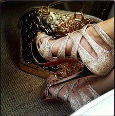 Louis Vuitton Gold Mirrored Alma Handbag Bag Tote with Gold Heels - L&H FASHION