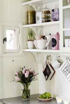 ♕ details in pretty white and pastel kitchen ~ love that little window