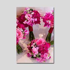 Свадебный букет • Букет из роз, пионов и латируса ярко-розового цвета • Country Flowers Club