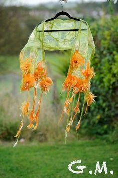 Scarf. Felted Scarf .Nuno Felted Scarf .Handmade wool and organza scarf.Organza Scarf.Flower Scarf