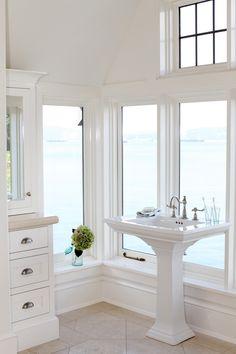 white bathroom / windows