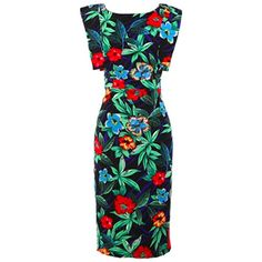 Fair+True New  Fairtrade Tropical Print Dress (6,370 INR) ❤ liked on Polyvore featuring dresses, strappy open back dress, green sleeve dress, vintage style dresses, strappy dress and strap dress