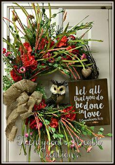 Summer Wreath Geraniums Owl Grapevine Wreath by Twentycoatswreath
