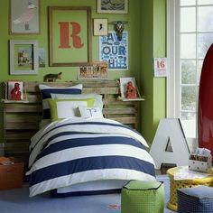 navy, green, red boy room