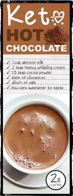 Low Carb Keto Hot Chocolate Recipe using heavy cream and almond milk! YUM -- 10 easy keto smoothie and drink recipes that will change the way you look at eating low carb. For breakfast, dessert and more! Listotic.com