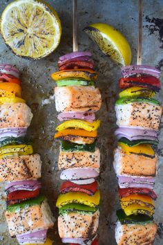 Rainbow Salmon Skewers *Grill or do in the oven, and you can use another type of fish that is recommended.