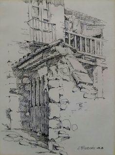 Racons del Lluçanes - Pen/Ink drawing - Joaquim Francés Pencil Drawings Tumblr, Pencil Art Drawings, Art Sketches, Watercolor Architecture, Architecture Drawings, Landscape Artwork, Landscape Drawings, Building Drawing, City Illustration