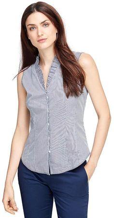 Cotton Sleeveless Stripe Ruffle Collar Dress Shirt