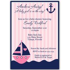 Invite guests to your girl baby shower with this adorable and classic pink striped nautical themed invitation featuring a pink pink sailboat and navy blue anchor.