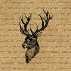 Elk Head Large Antlers Deer Stag Animal Image by GraphicVariete, $1.00