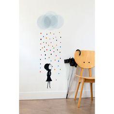 Sticker mural pour les chambres d'enfants - Mademoiselle sous la pluie
