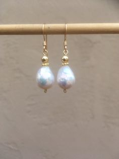 Baroque Freshwater Pearl and sterling silver or 14k by CokGuzel
