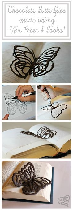 Make Chocolate Butterflies Using Wax Paper and Books! The Books give it a realistic pose. The Template/Pattern is included in the Tutorial!  I could see white chocolate ones on a white cake. : )