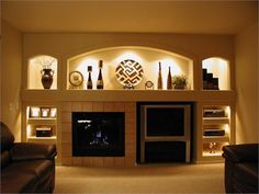 built in modern fireplace with shelves - Google Search