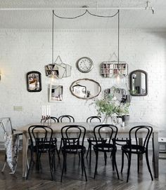 Dining room with white brick wall