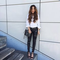 Swap your solid leather pants for ones with moto details - negin_mirsalehi