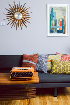 mid-century modern decor with funky knit pillows by Seven Gauge Studios • the lifestyle editor