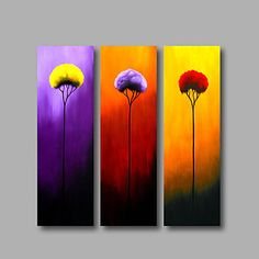 Ready to Hang Stretched Framed Hand-painted Oil Painting Three Panels Canvas Wall Art Purple Red Yellow Flowers – GBP £ Small Canvas Paintings, Small Canvas Art, Diy Canvas Art, Three Canvas Painting, Modern Paintings, Oil Paintings, Oil Painting Flowers, Abstract Flowers, Simple Oil Painting