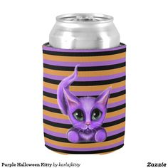 """Purple Halloween Kitty Can Cooler  My little purple kitty is on both sides. The background image is a stripe in orange, purple, and black. Click on the """"Customize it!"""" button to add text, images, etc. to create your own design"""