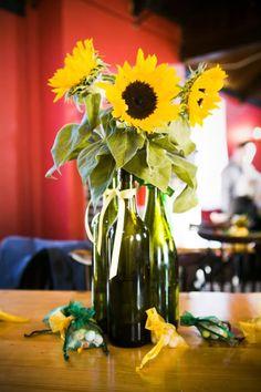 1) sunflowers 2)vases repurposed!