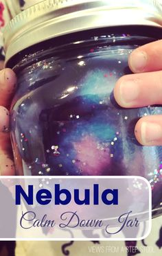 How cool is this nebula calm down jar?!? It is super easy to make and a wonderful sensory tool that can be used when kids are experiencing intense emotions.