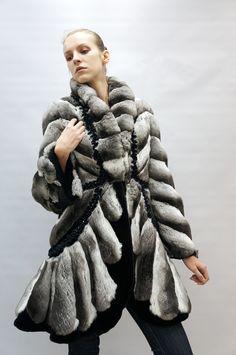 Chinchilla Stroller W/Black Sheared Mink Coat, W/Diamond Insert